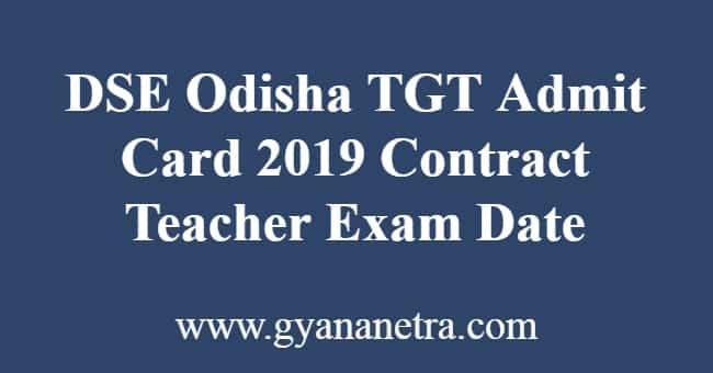 DSE Odisha TGT Admit Card