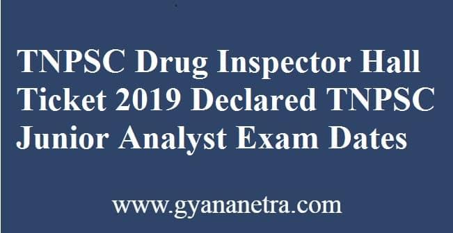 TNPSC Drug Inspector Hall Ticket