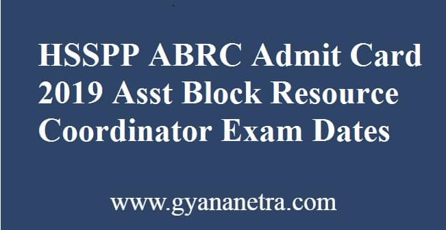HSSPP ABRC Admit Card