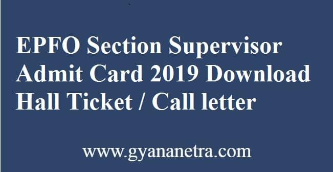 EPFO Section Supervisor Admit Card