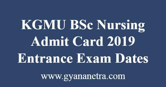 KGMU BSc Nursing Admit Card 2019