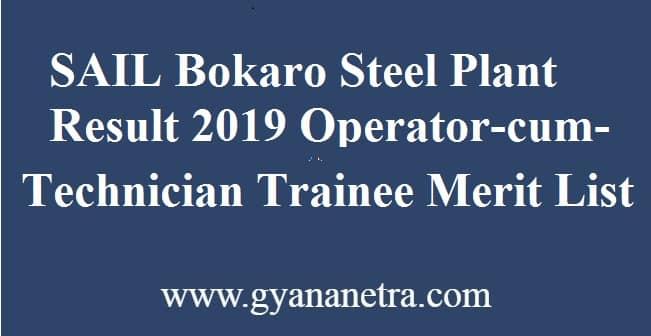 SAIL Bokaro Steel Plant Result 2019