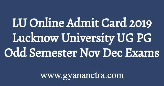 LU Online Admit Card 2019