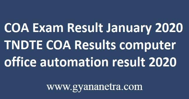 COA Exam Result January