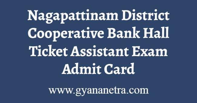 Nagapattinam District Cooperative Bank Hall Ticket