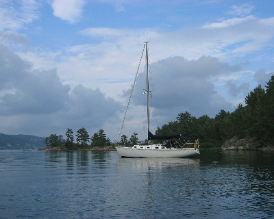 """Photo: Endeavour sailboat """"About Time"""" in Baiefine, Ontario. Credit: L. Borre."""