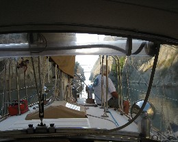 Photo: Tayana 37 Gyatso passing through the Corinth Canal, Greece. Credit: Lisa Borre.