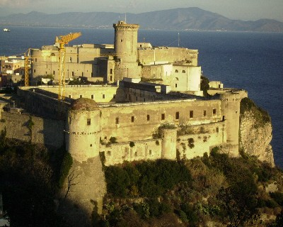 Photo: The Castello Angioino - Aragonese towers above the old town of Gaeta. Credit: Lisa Borre.