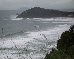 Photo: A stormy day along the coast northwest of Gaeta, Italy. Credit: Lisa Borre.