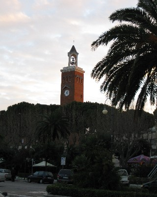Photo: Clock tower in the Piazza in New Gaeta, Italy. Credit: Lisa Borre.