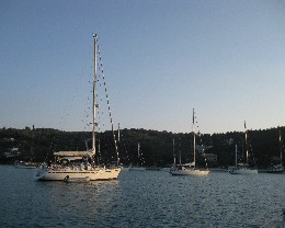 Photo: The popular anchorage in Lakka, Paxos. Credit: Lisa Borre.