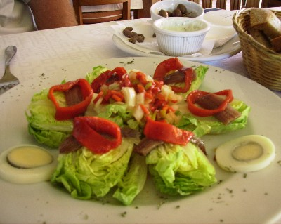 Photo: Baby hearts of romaine salad at beachfront restaurant on Ibiza. Credit: Lisa Borre.