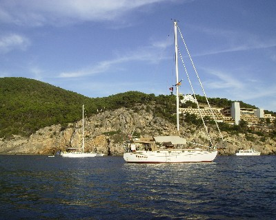 Photo: Tayana 37 Gyatso in Puerto de San Miguel on Ibiza. Credit: Lisa Borre.