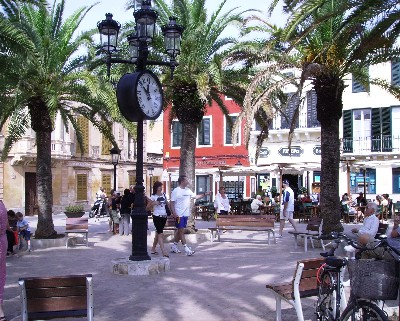 Photo: Busy square in Ciutadella, Menorca. Credit: Lisa Borre.