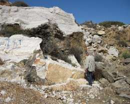 Photo: Ancient marble quarry on Paros. Credit: Lisa Borre.