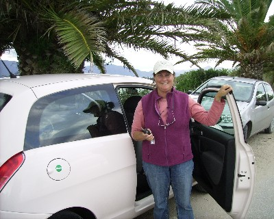 Photo: Even our rental car was a pinkish color that day! Credit: David Barker.