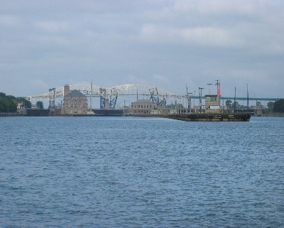 Photo: Approaching the Soo Locks, St. Mary's River. Credit: L. Borre.