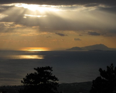 Photo: Sunset view over the Bay of Naples from Mt. Vesuvius. Credit: Lisa Borre.