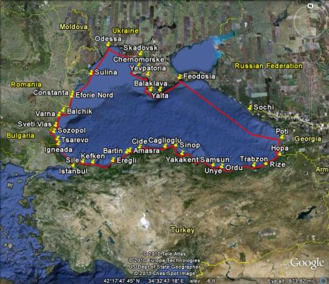 Image: s/y Gyatso voyage around the Black Sea in 2010. Credit: L. Borre using Google maps.
