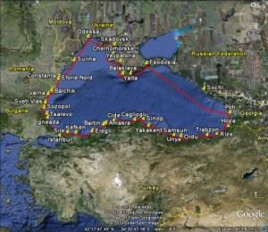 Gyatso's route around the Black Sea in 2010.