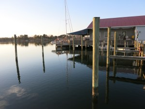 Gyatso was the only transient boat at the marina in Reedville, VA in March 2014. Photo by Lisa Borre.