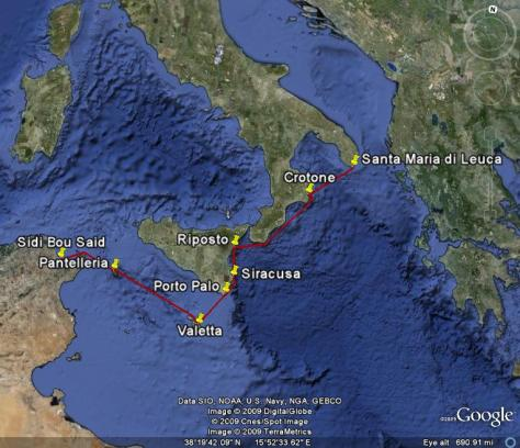 Image: Map of Gyatso's voyage in Southern Italy. Credit: L. Borre.