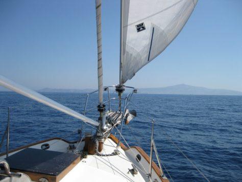 Photo: Tayana 37 Gyatso under sail in the Cyclades, Greece. Credit: Lisa Borre.