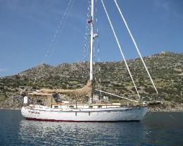 Photo: s/y Gyatso at anchor in Turkey. Credit: L.Borre