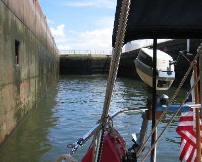 Photo: Locking through in About Time on the Erie Canal. Credit: L. Borre.