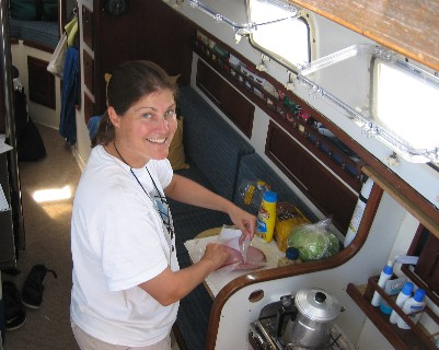 Photo: Lunch while transiting the Erie Canal. Credit: D. Barker.