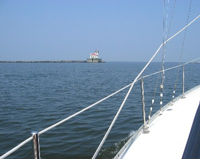 Photo: Entering Lake Ontario from the Oswego River in New York. Credit: L. Borre.