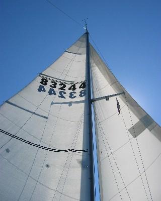 Photo: Sailing west wing-on-wing toward Ashtabula, Ohio. Credit: L. Borre.