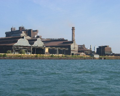 Photo: Industrial waterfront along the Detroit River. Credit: L. Borre.