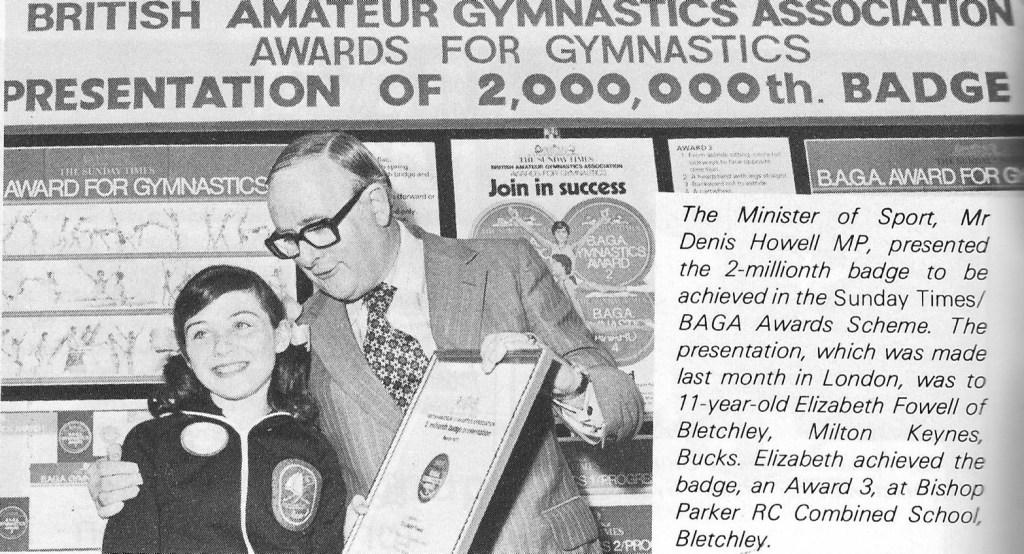 2,000,000 Sunday Times Gymnastics Award Scheme badges
