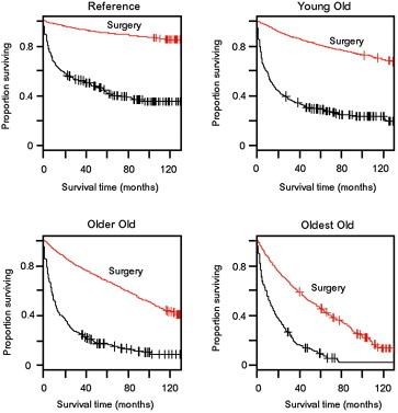 The impact of surgery on survival of elderly women with