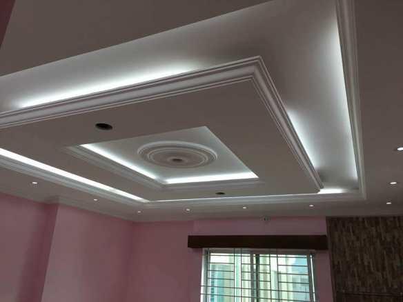 Gypsum Ceiling Designs bulkhead with strip lights