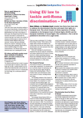 Thumbnail of the report 'Using EU law to tackle anti-Roma discrimination - Part 1'