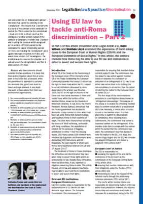 Thumbnail of the report 'Using EU law to tackle anti-Roma discrimination - Part 2'
