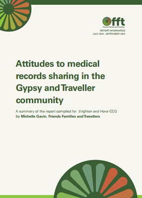 thumbnail of report cover for 'Attitudes to medical records sharing in the Gypsy and Traveller community' by FFT