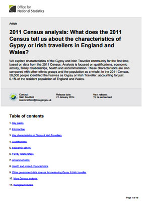 thumbnail of contents table for '2011 census - what does the 2011 census tell us about the characteristics of Gypsy or Irish Travellers in England and Wales'