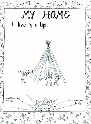 Front cover of 'my home, I live in a tipi' booklet