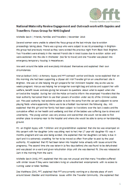 Thumbnail of report for 'National Maternirty Review Engagement and Outreach work with Gypsies and Travellers: Focus Group for NHS England'