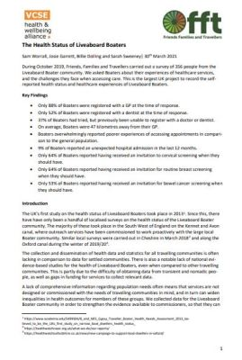 Document with text regarding health status of liveaboard boaters