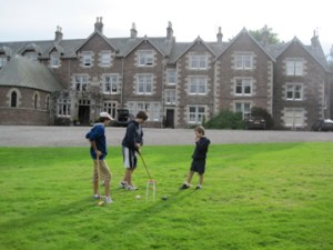 croquet on the lawn of Cromlix House