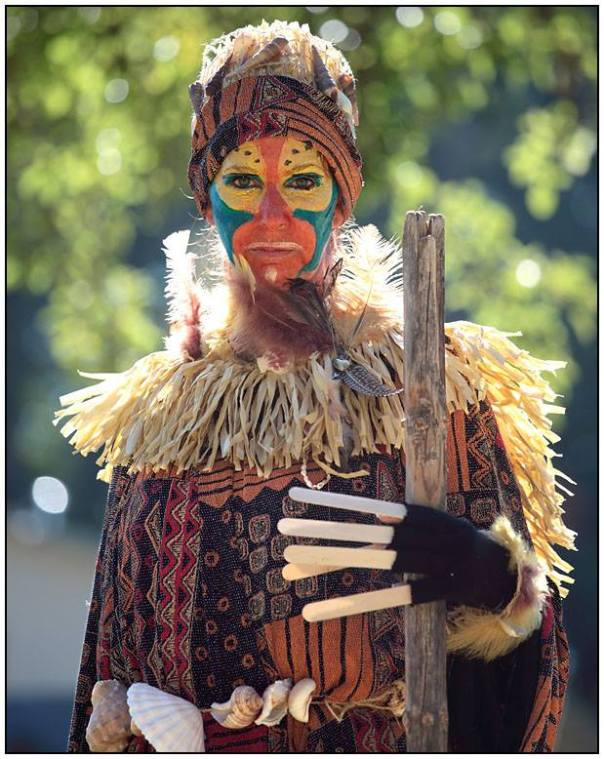 dressed as Rafiki from The Lion King