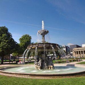 a water fountain in Stuttgart