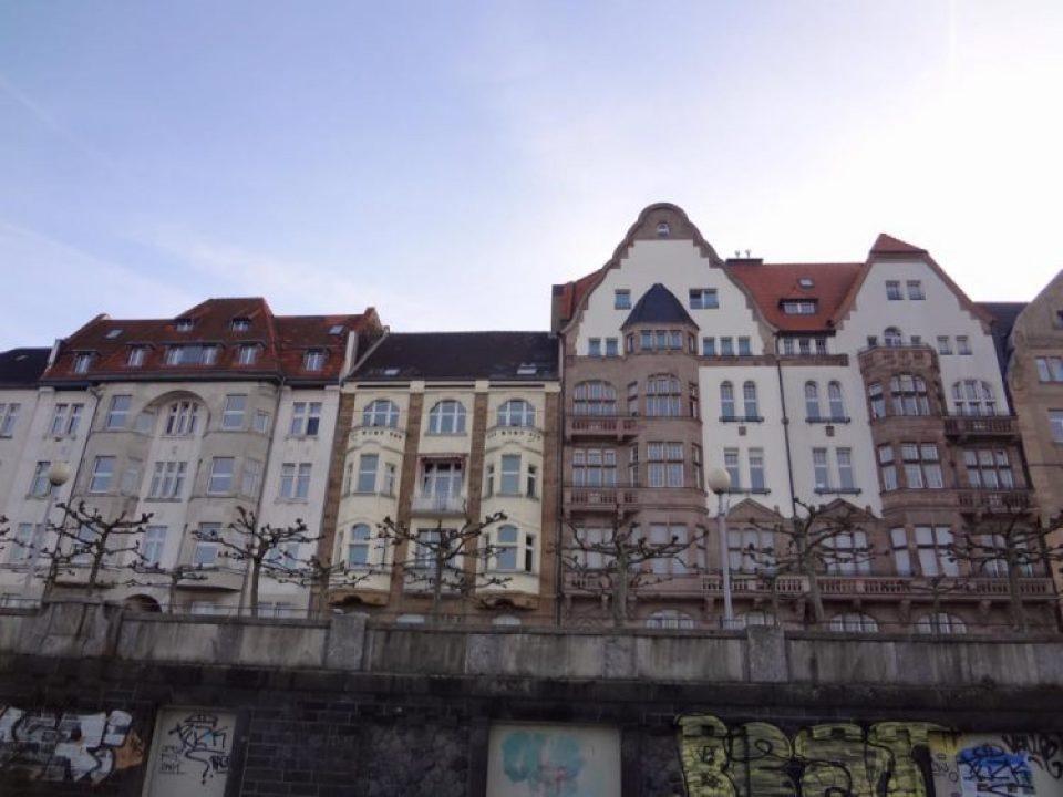 a view from Rhine River in Düsseldorf