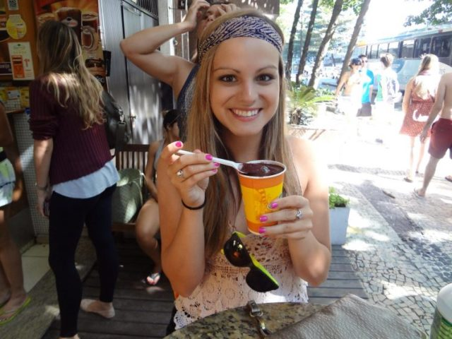 Rachel eating acai in Rio