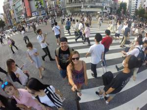 Grant and Rachel at Shibuya Crossing