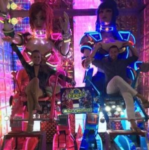 Grant and Rachel at Robot Restaurant in Tokyo